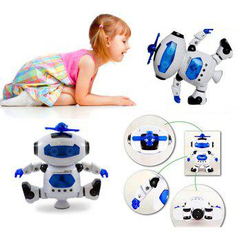 360 Degree Stunt Rotating Dynamic Sound And Light Intelligent Robot with Flash - WHITE
