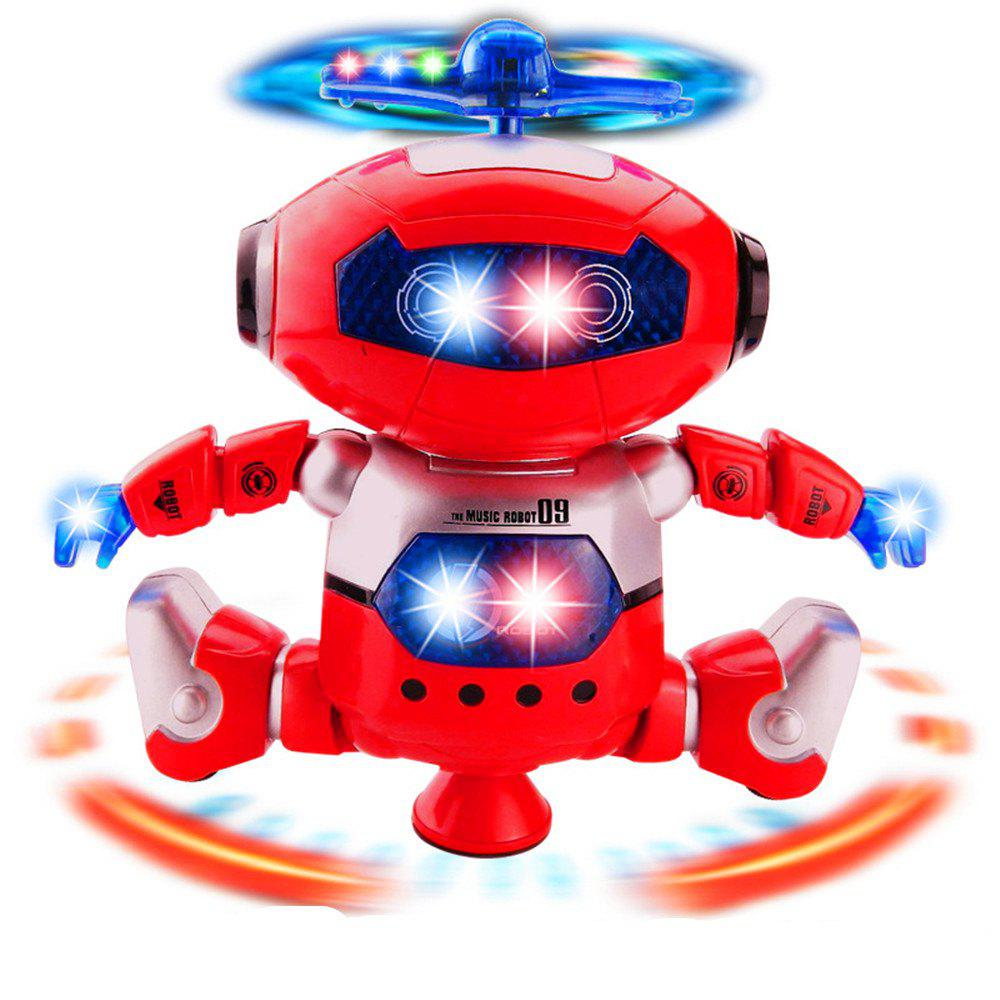 360 Degree Stunt Rotating Dynamic Sound And Light Intelligent Robot with Flash - RED