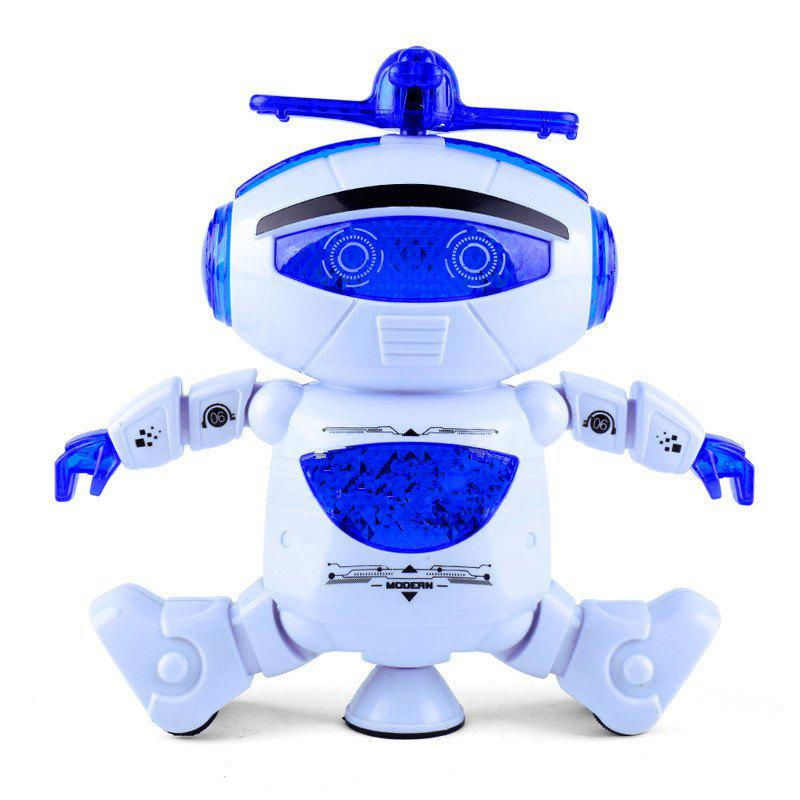 360 Degree Stunt Rotating Dynamic Sound And Light Intelligent Robot with Flash - BLUE