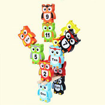 Children Intelligence Toy Wooden Large Size Color Digital Owl Block - multicolor A