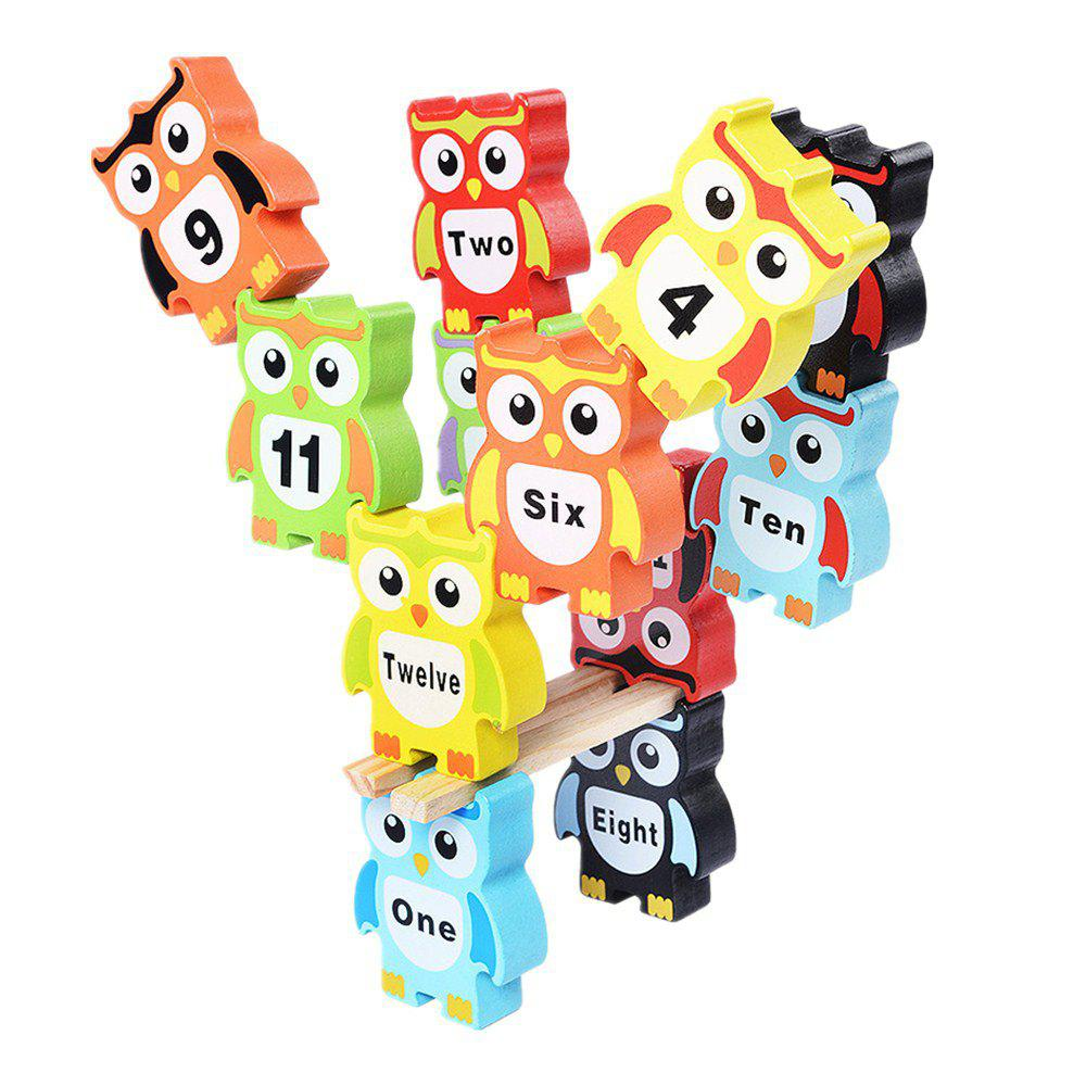 Children Intelligence Toy Wooden Large Size Color Digital Owl Block owl clockwork toy
