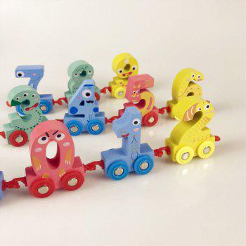 Wood Early Childhood Toy 0 - 9 Digital Small Train - multicolor A