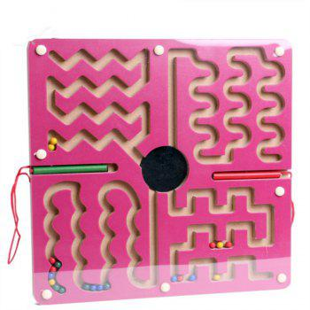 Maze of Magnetic Pencil for Children with Wooden Puzzle Toys - DARK CARNATION PINK