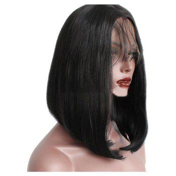 Wigs with Short Hair and Black Front Lace - BLACK 16INCH