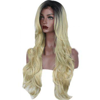 T Colou Front Lace Chemical Fiber Wig Gold Head Cover - GOLDENROD 24INCH