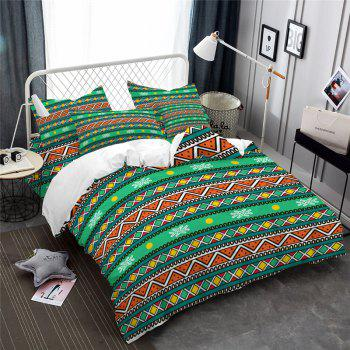 Hot Selling Bohemia National Pattern Series Christmas Element Bedding Set BK111 - MEDIUM FOREST GREEN CALIFORNIA KING