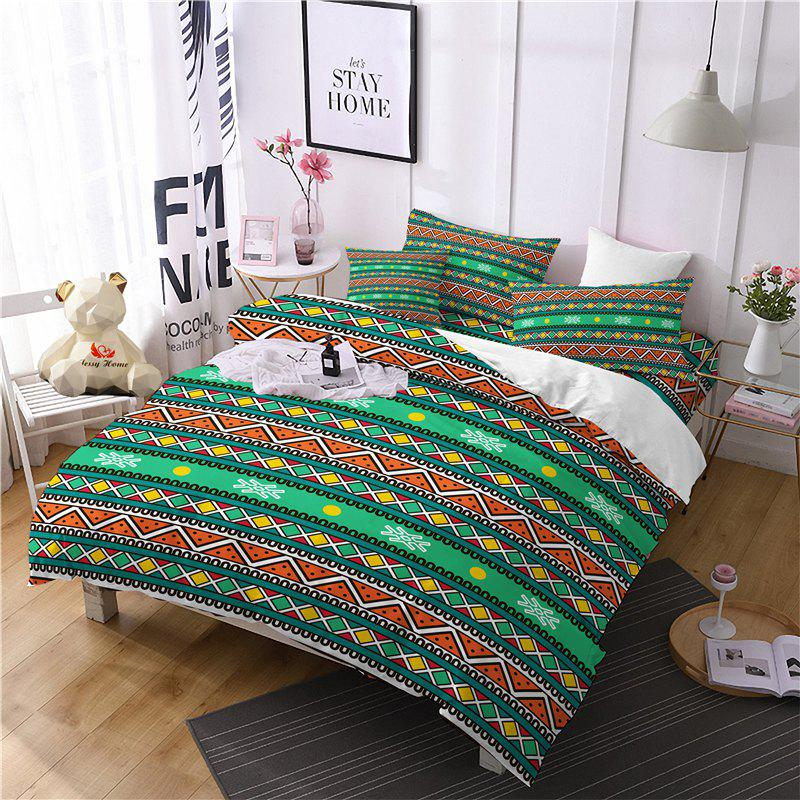 Hot Selling Bohemia National Pattern Series Christmas Element Bedding Set BK111 - MEDIUM FOREST GREEN FULL