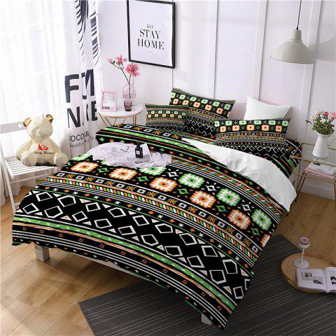 Hot Selling Bohemia National Pattern Series Christmas Element Bedding Set BK115 - BLACK QUEEN