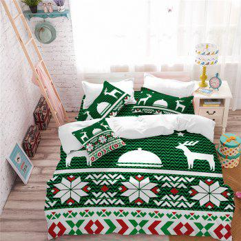 Hot Selling Bohemia National Pattern Series Christmas Element Bedding Set BK123 - MEDIUM SPRING GREEN QUEEN