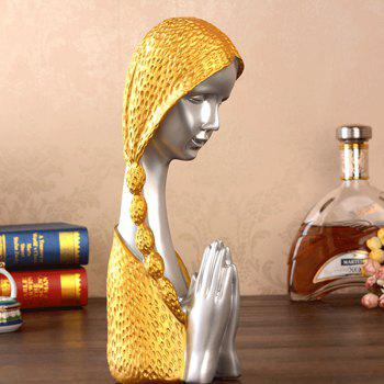 Resin Ornaments Praying Girl Sculpture Wine Cabinet Crafts Home Decorations - multicolor A