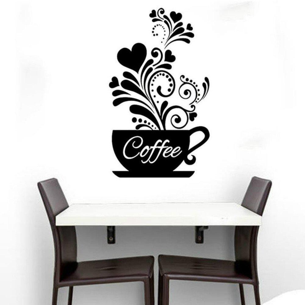 Coffee Cup Wall Sticker for Kitchen Decor diy coffee cup wall sticker clock home decoration coffee black red green