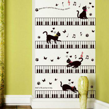 Autocollant de mur de dessin animé mignon chat Home Decor - Noir