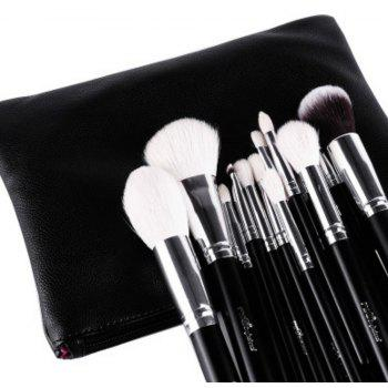 15PCS Wool Makeup Brushes with PU Leather Case - BLACK