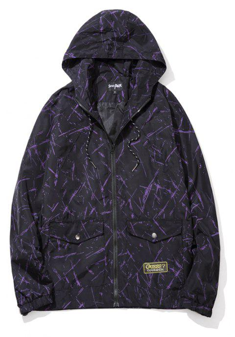 Men's Summer Sun Protection Graffiti Jacket - PURPLE DRAGON 2XL