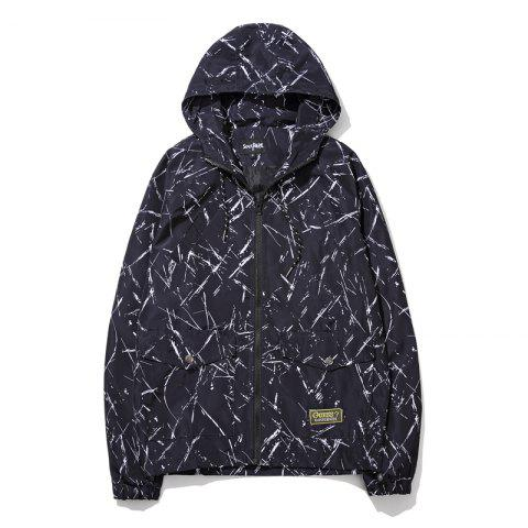 Men's Summer Sun Protection Graffiti Jacket - BLACK L