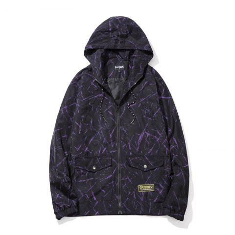 Men's Summer Sun Protection Graffiti Jacket - PURPLE DRAGON 5XL
