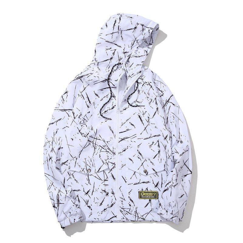 Men's Summer Sun Protection Graffiti Jacket - WHITE L