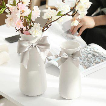 European Style Traditional Ceramic Arts Crafts Home Furnishing Flower Vase - MILK WHITE M 9.5*23 CM