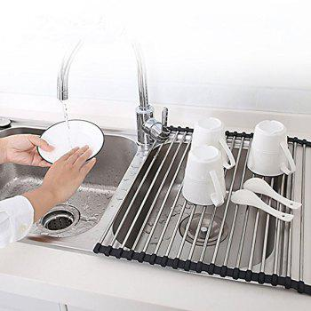 Dish Rack Multi Purpose Larger Drying Dishes Stainless Steel Foldable Over Sink - BLACK