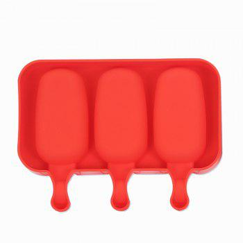 Silicone Ice Cream Mold Popsicle Molds Ice Tray Cube Tool - BEAN RED