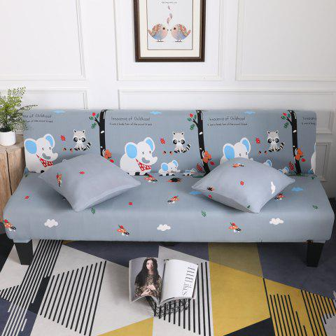 Sofa Cover for Armless Sofa with Cartoon Patterns - multicolor C APPLY FOR ARMLESS SOFA FROM 150CM TO 185CM