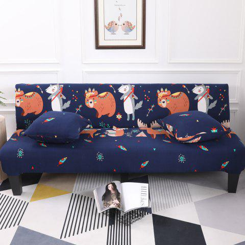 Sofa Cover for Armless Sofa with Cartoon Patterns - multicolor E APPLY FOR ARMLESS SOFA FROM 150CM TO 185CM