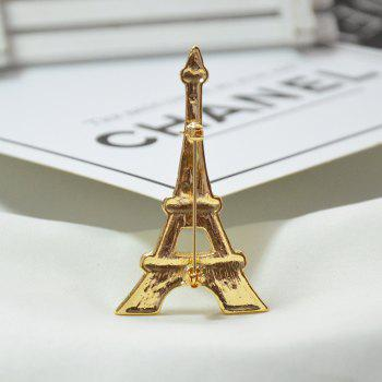 Romantic Iron Tower Crystal Brooches for Man Commemorative Brooch Pins Gift - GOLD