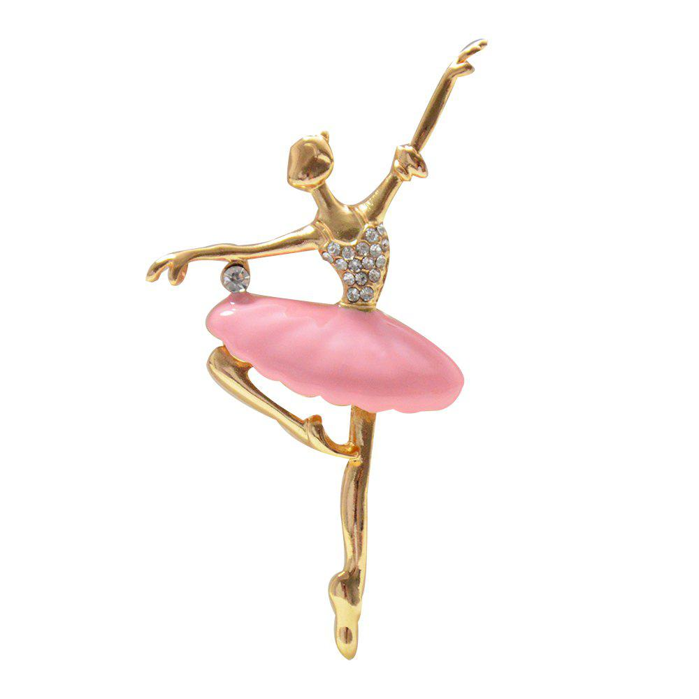 Fashion Jewelry Ballerina Brooches for Women Crystal Ballet Dancer Enamel Pin - PINK