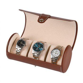3-Position PU Portable Watch Storage Display Box - BROWN