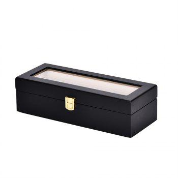 6 Dummy Lacquer Wristwatches Receiving and Displaying Boxes - BLACK