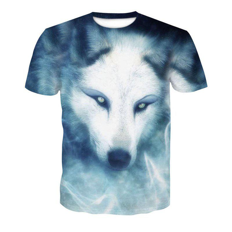 White Wolf 3D Print Men's Casual Short Sleeve Graphic T-shirt white back graphic print crew neck short sleeve men s casual t shirt