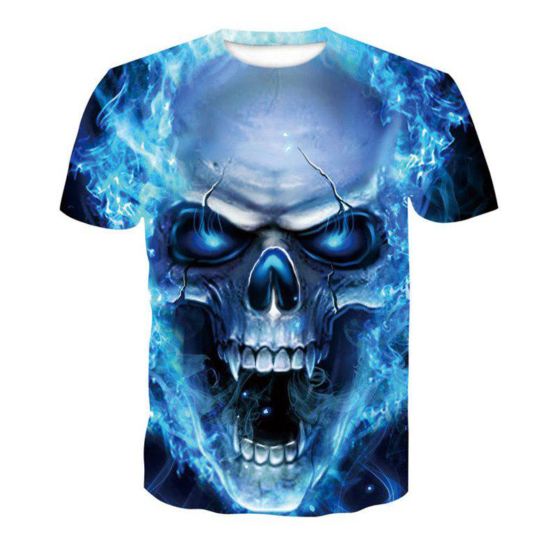 3D Blue Skull Print Men's Casual Short Sleeve Graphic T-shirt цена