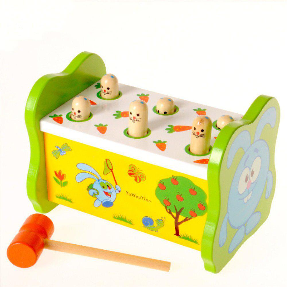 Parent-child Interaction Wooden Knocking Toy Rabbit Ground Mouse Game - multicolor A