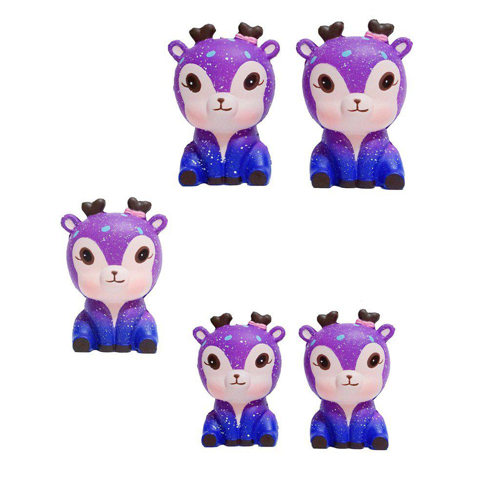 Slow Springback Series of Lovely Elastic Starry Deer Toys Jumbo Squishy 5PCS - multicolor A