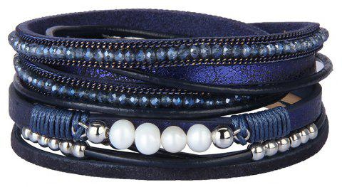 Fashion Accessories Multi - Layer Leather Pearl Crystal Bracelet - BLUE