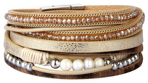 Fashion Accessories Multi - Layer Leather Pearl Crystal Bracelet - GOLD