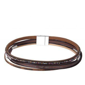 Fashion Accessories Multi - Layer Leather Pearl Crystal Bracelet - COFFEE