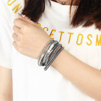 Fashion Accessories Multi - Layer Leather Pearl Crystal Bracelet - GRAY
