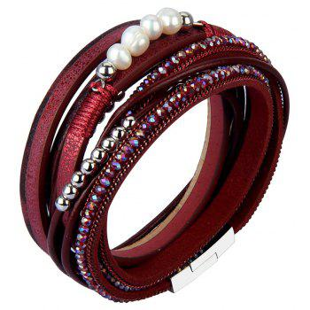 Fashion Accessories Multi - Layer Leather Pearl Crystal Bracelet - RED