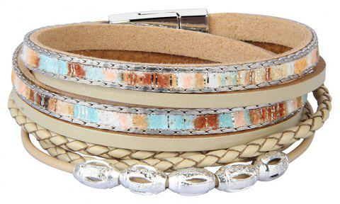 Fashion Accessories Multi - Layer Leather Transfer Beads Bracelet - GOLD