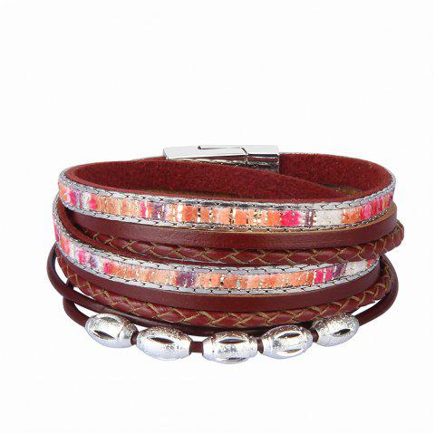 Fashion Accessories Multi - Layer Leather Transfer Beads Bracelet - RED