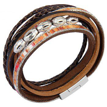 Fashion Accessories Multi - Layer Leather Transfer Beads Bracelet - COFFEE