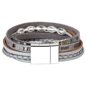 Fashion Accessories Multi - Layer Leather Transfer Beads Bracelet - GRAY