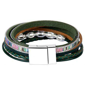Fashion Accessories Multi - Layer Leather Transfer Beads Bracelet - GREEN