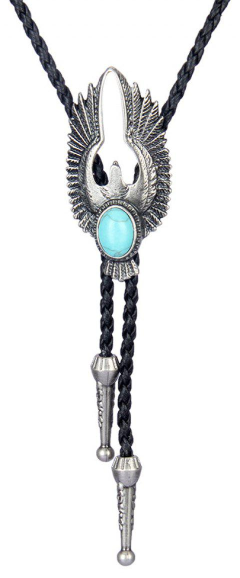 Fashion Accessories Woven Rope Alloy Eagle with Turquoise Necklace - SILVER