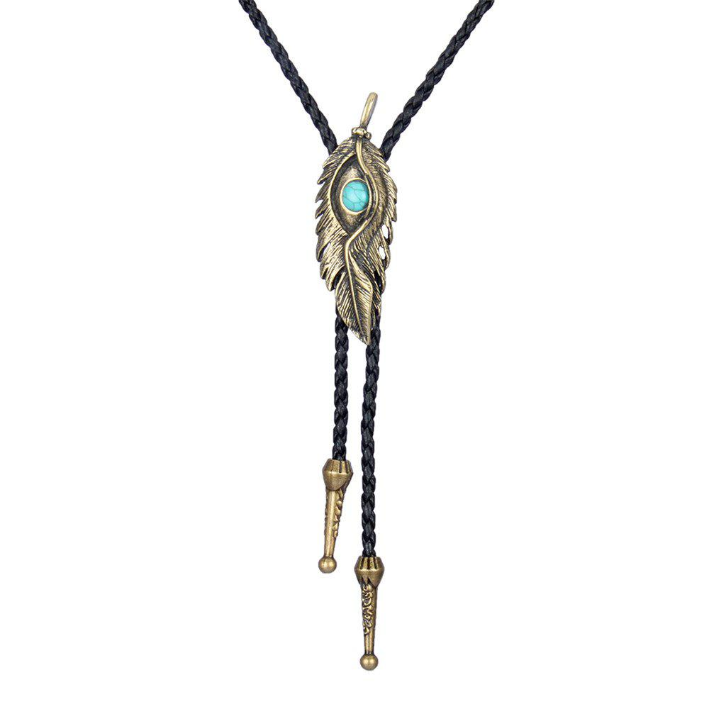 Fashion Accessories Eagle Eye Feather with Turquoise Woven Rope Necklace - GOLD