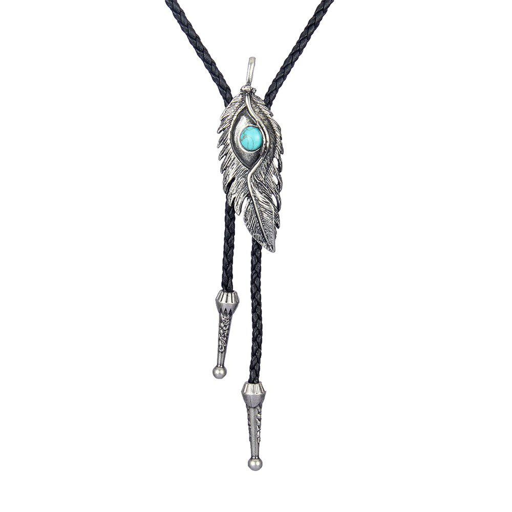 Fashion Accessories Eagle Eye Feather with Turquoise Woven Rope Necklace - SILVER