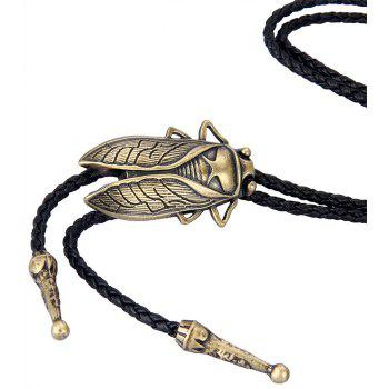 Fashion Accessories Alloy Cicada Woven Rope Necklace - GOLD