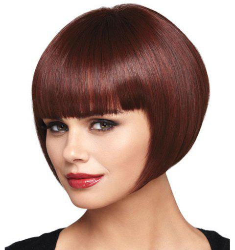 Wine Red Straight Bang Wig - RED WINE 10INCH