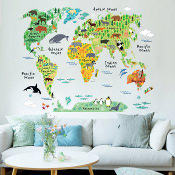 New Waterproof Animal World Wall Stickers - multicolor A
